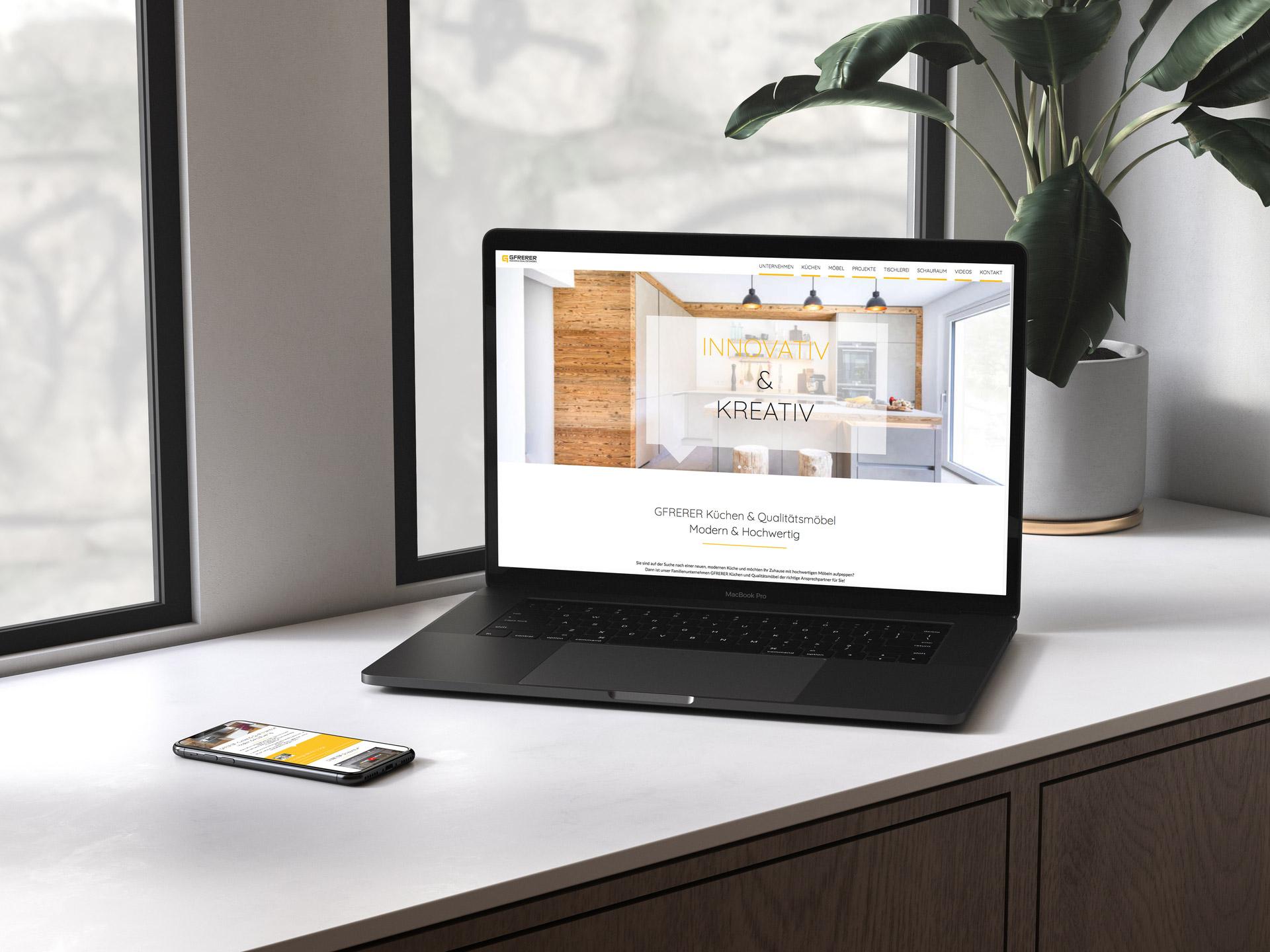 Website Gfrerer Küchen und Qualitätsmöbel
